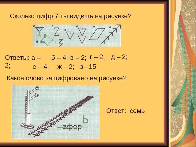 Сколько цифр 7 ты видишь на рисунке? Ответы: а – 2; б – 4; в – 2; г – 2; д –...