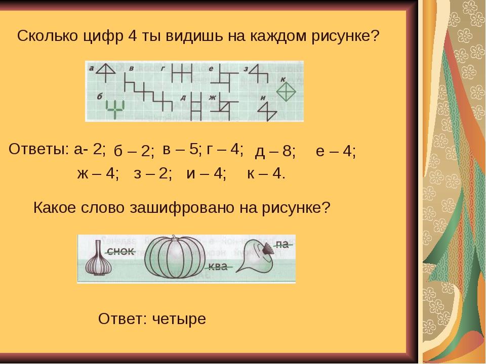 Сколько цифр 4 ты видишь на каждом рисунке? Ответы: а- 2; б – 2; в – 5; г – 4...
