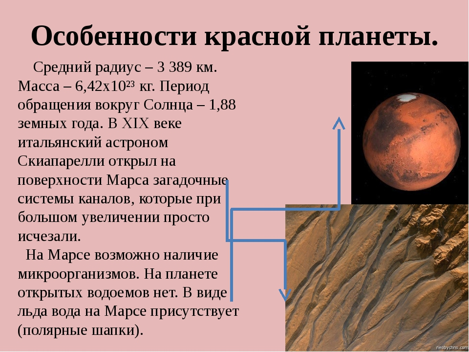 Особенности красной планеты. Средний радиус – 3 389 км. Масса – 6,42х10²³ кг....