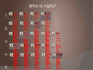 Who is right? 1. 2. 3. 4. 5.