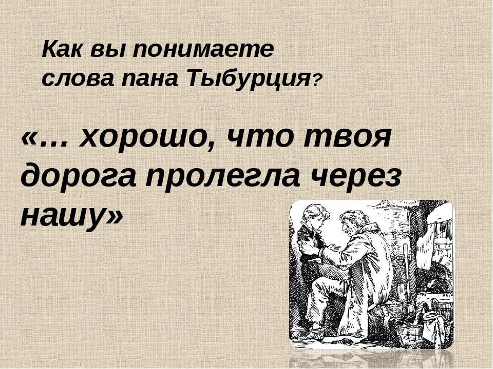 «… хорошо, что твоя дорога пролегла через нашу» Как вы понимаете слова пана Т...