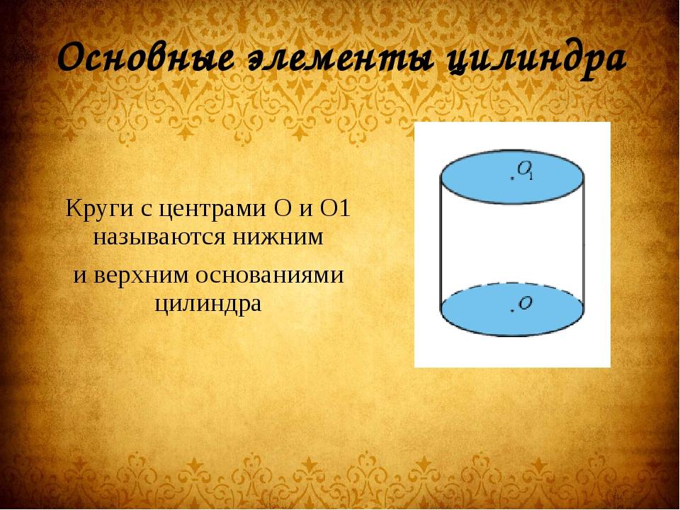 Основные элементы цилиндра Круги с центрами О и О1 называются нижним и верхни...
