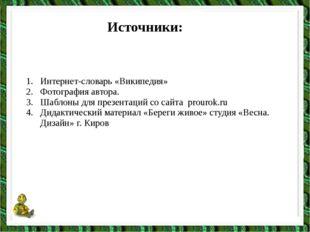 Источники: Интернет-словарь «Википедия» Фотография автора. Шаблоны для презен