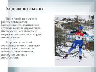 Ходьба на лыжах При ходьбе на лыжах в работу вовлекается наибольшее, по срав