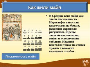 В Средние века майя уже знали письменность. Иероглифы наносили кисточками на