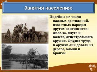 Индейцы не знали важных достижений, известных народам других континентов: жел
