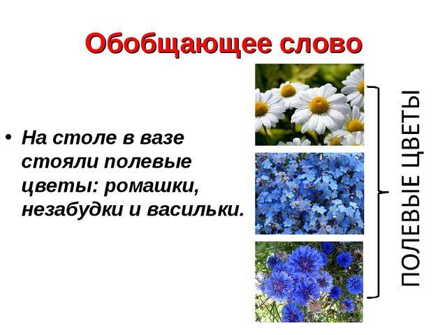 Обобщающее слово На столе в вазе стояли полевые цветы: ромашки, незабудки и в...