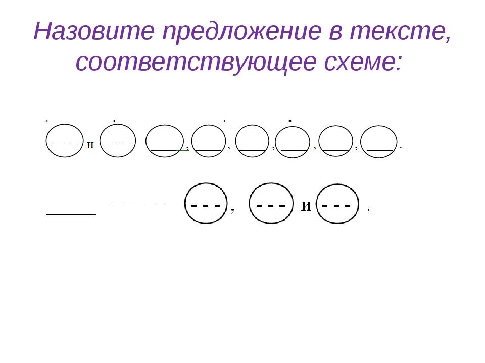 Назовите предложение в тексте, соответствующее схеме:
