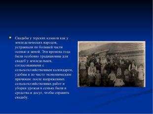 Свадьбы у терских казаков как у земледельческих народов, устраивали по больш