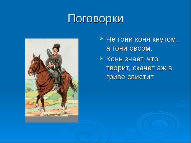 Поговорки Не гони коня кнутом, а гони овсом. Конь знает, что творит, скачет а...