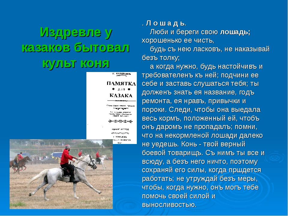 Издревле у казаков бытовал культ коня . Л о ш а д ь. Люби и береги свою лошад...