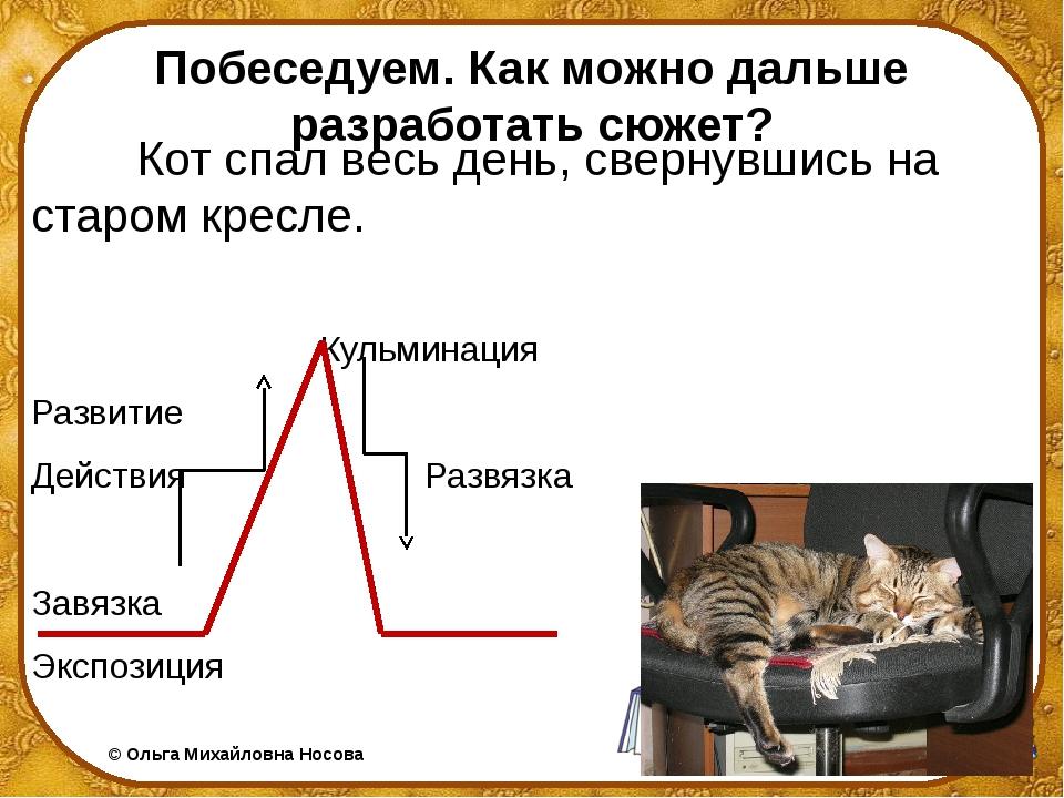 Побеседуем. Как можно дальше разработать сюжет? Кот спал весь день, свернувши...
