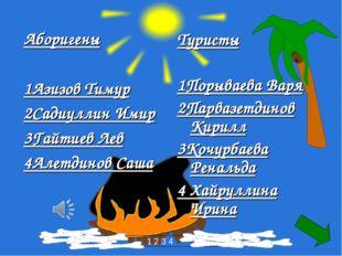 Аборигены 1Азизов Тимур 2Садиуллин Имир 3Гайтиев Лев 4Алетдинов Саша Туристы