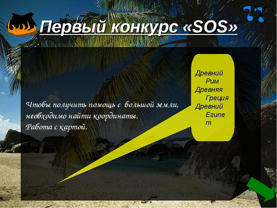 Первый конкурс «SOS» Чтобы получить помощь с большой земли, необходимо найти...