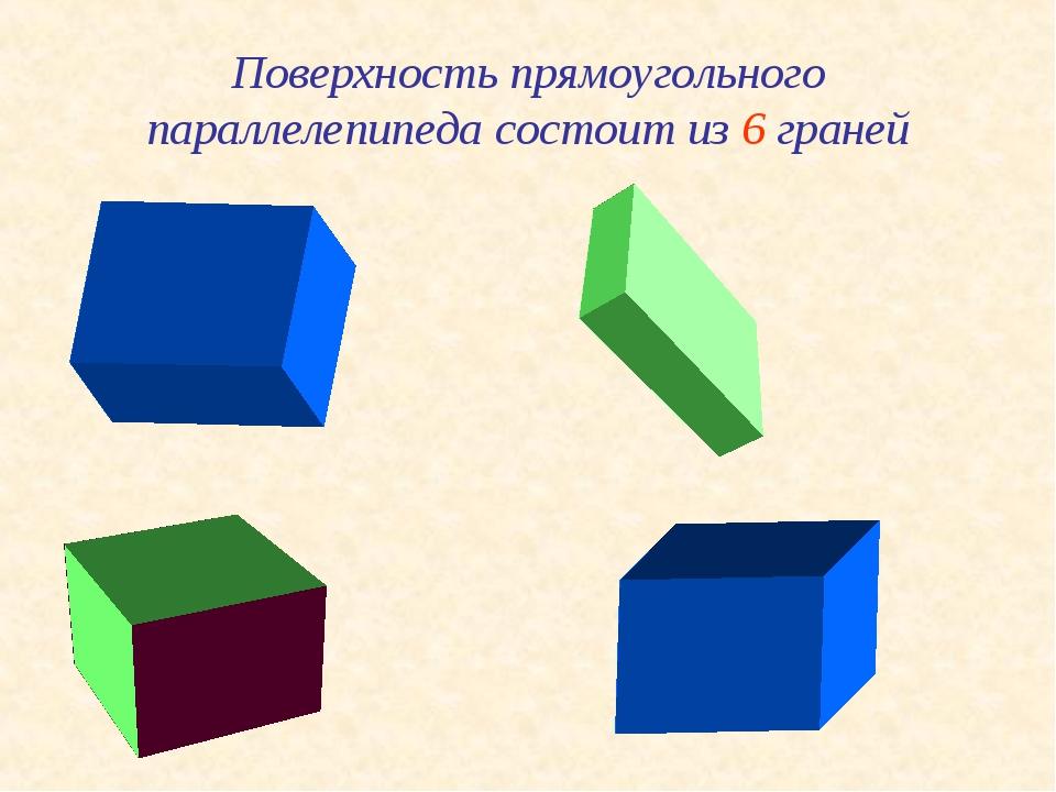 Поверхность прямоугольного параллелепипеда состоит из 6 граней
