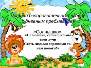 Летний оздоровительный лагерь с дневным пребыванием «Солнышко» Карабидайская