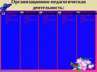 Организационно-педагогическая деятельность: