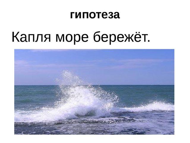 гипотеза Капля море бережёт.