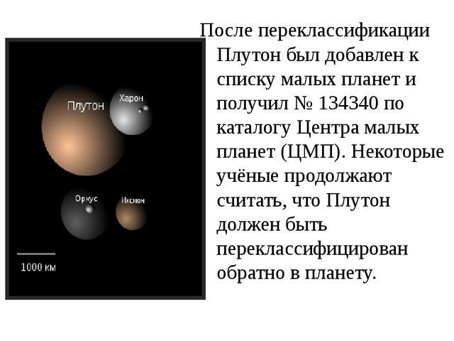 После переклассификации Плутон был добавлен к списку малых планет и получил №...