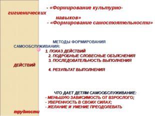 МЕТОДЫ ФОРМИРОВАНИЯ САМООБСЛУЖИВАНИЯ: 1. ПОКАЗ ДЕЙСТВИЙ 2. ПОДРОБНЫЕ СЛОВЕСН