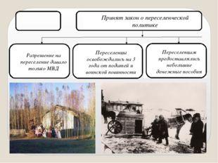 1889 год Принят закон о переселенческой политике Разрешение на переселение да