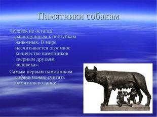 Памятники собакам Человек не остался равнодушным к поступкам животных. В мире