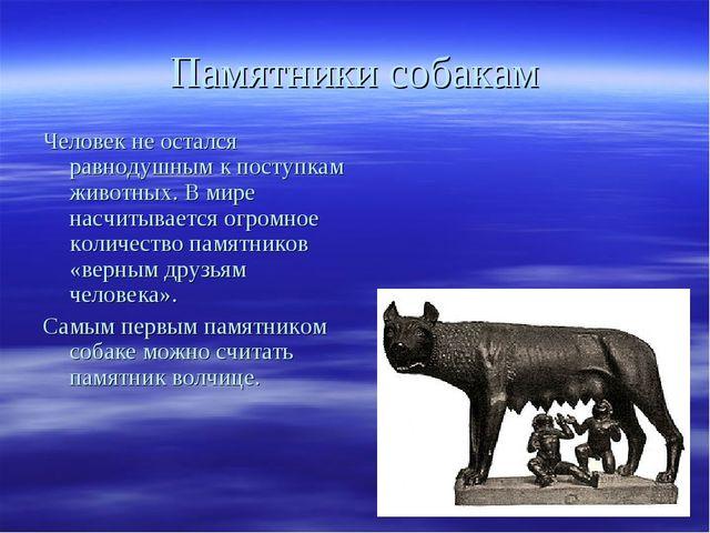 Памятники собакам Человек не остался равнодушным к поступкам животных. В мире...