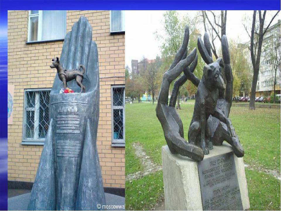Собака Лайка - первое живое существо, побывавшее в космосе. Памятник установл...