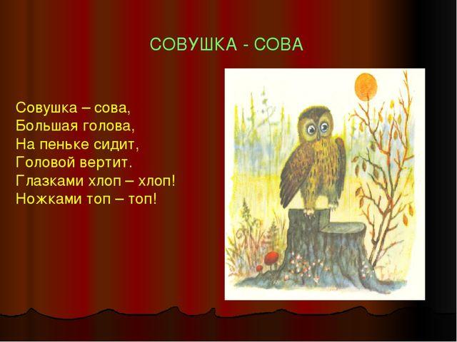 СОВУШКА - СОВА Совушка – сова, Большая голова, На пеньке сидит, Головой верти...