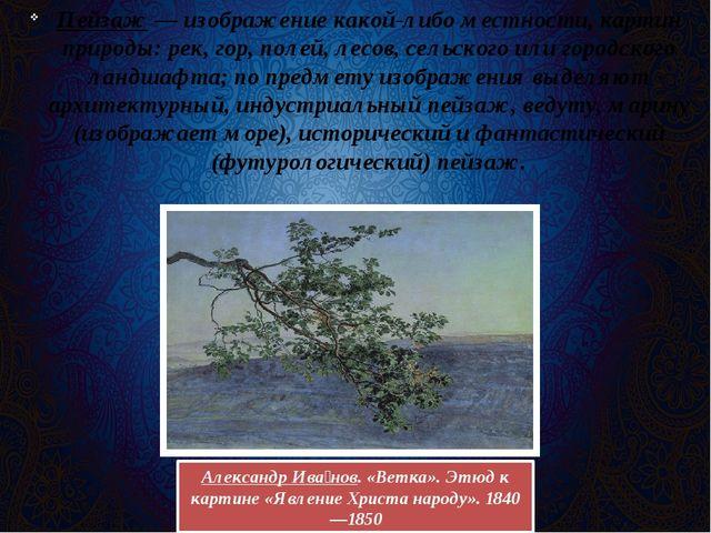 Пейзаж— изображение какой-либо местности, картин природы: рек, гор, полей, л...