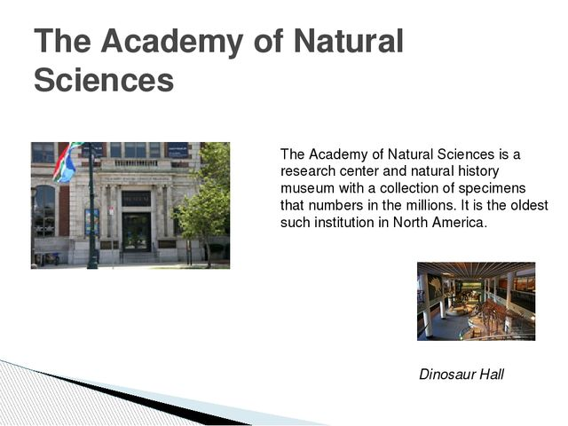 The Academy of Natural Sciences The Academy of Natural Sciences is a research...