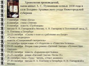3-6  Хронология произведений, написанных А. С. Пушкиным осенью 1830 года в