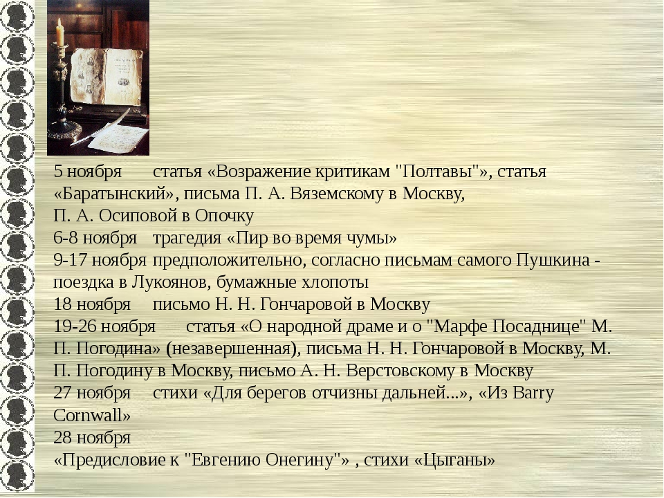 """5 ноябрястатья «Возражение критикам """"Полтавы""""», статья «Баратынский», письма..."""