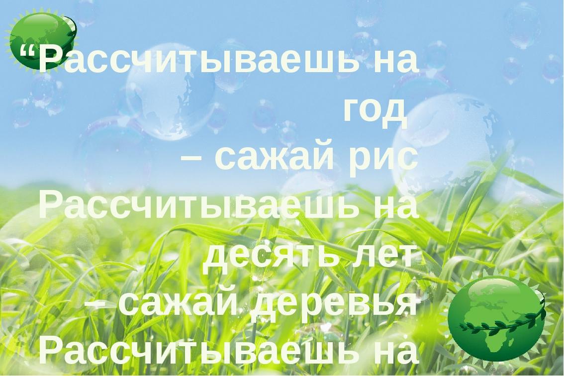 """""""Рассчитываешь на год – сажай рис Рассчитываешь на десять лет – сажай деревь..."""