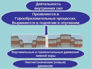 Деятельность внутренних сил Проявляется в Горообразовательных процессах. Выра
