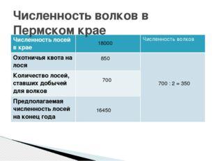 Численность волков в Пермском крае 18000 850 16450 700 700 : 2 = 350 Численно