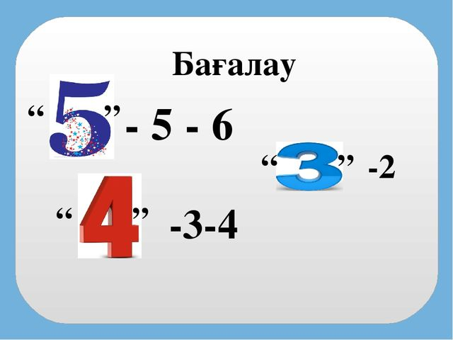 """- 5 - 6 -3-4 -2 """" """" """" """" """" """" Бағалау"""