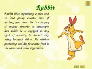 Rabbit Rabbit likes organizing a plan and to lead group events, even if nothi