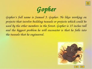 Gopher Gopher's full name is Samuel J. Gopher. He likes working on projects t