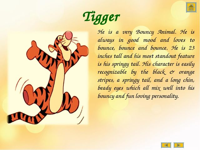 Tigger He is a very Bouncy Animal. He is always in good mood and loves to bou...