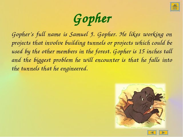 Gopher Gopher's full name is Samuel J. Gopher. He likes working on projects t...