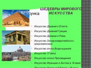 ШЕДЕВРЫ МИРОВОГО ИСКУССТВА Искусство Древнего Египта Искусство Древней Греции