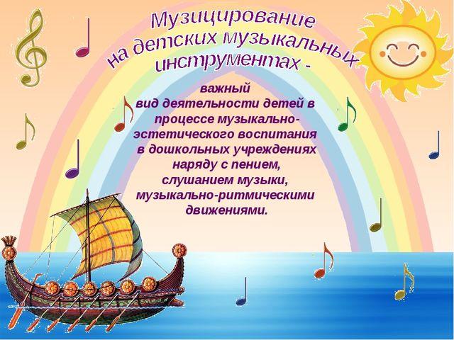 важный вид деятельности детей в процессе музыкально- эстетического воспитания...