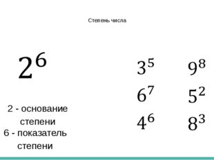 Степень числа 6 - показатель степени 2 - основание степени