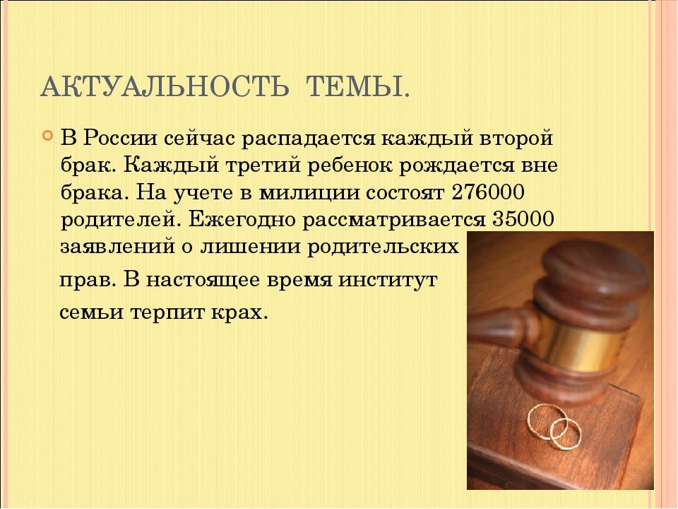 АКТУАЛЬНОСТЬ ТЕМЫ. В России сейчас распадается каждый второй брак. Каждый тре...