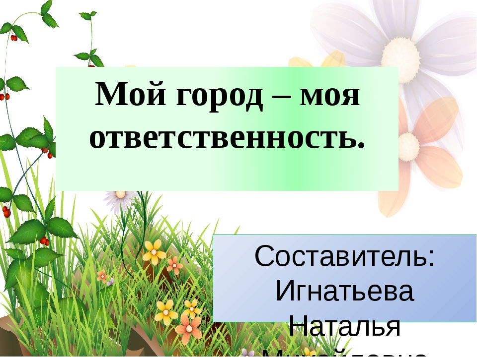 Мой город – моя ответственность. Составитель: Игнатьева Наталья Михайловна Уч...
