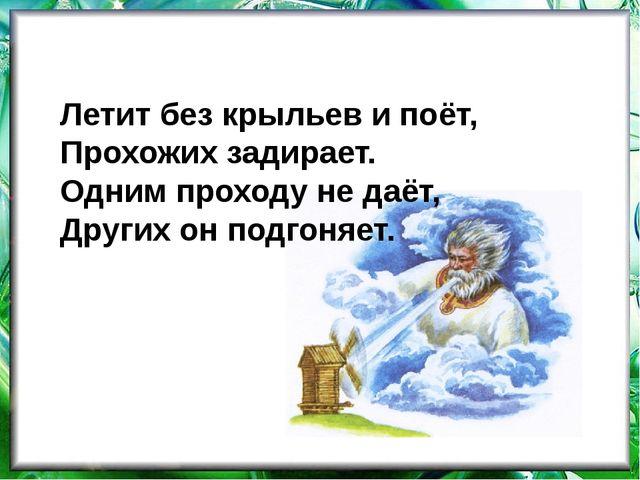 Летит без крыльев и поёт, Прохожих задирает. Одним проходу не даёт, Других он...