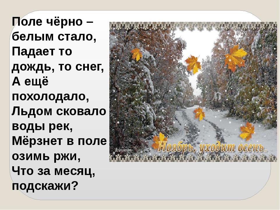 Поле чёрно – белым стало, Падает то дождь, то снег, А ещё похолодало, Льдом с...