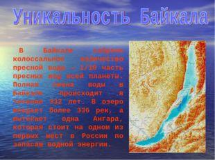 В Байкале собрано колоссальное количество пресной воды — 1/10 часть пресных в