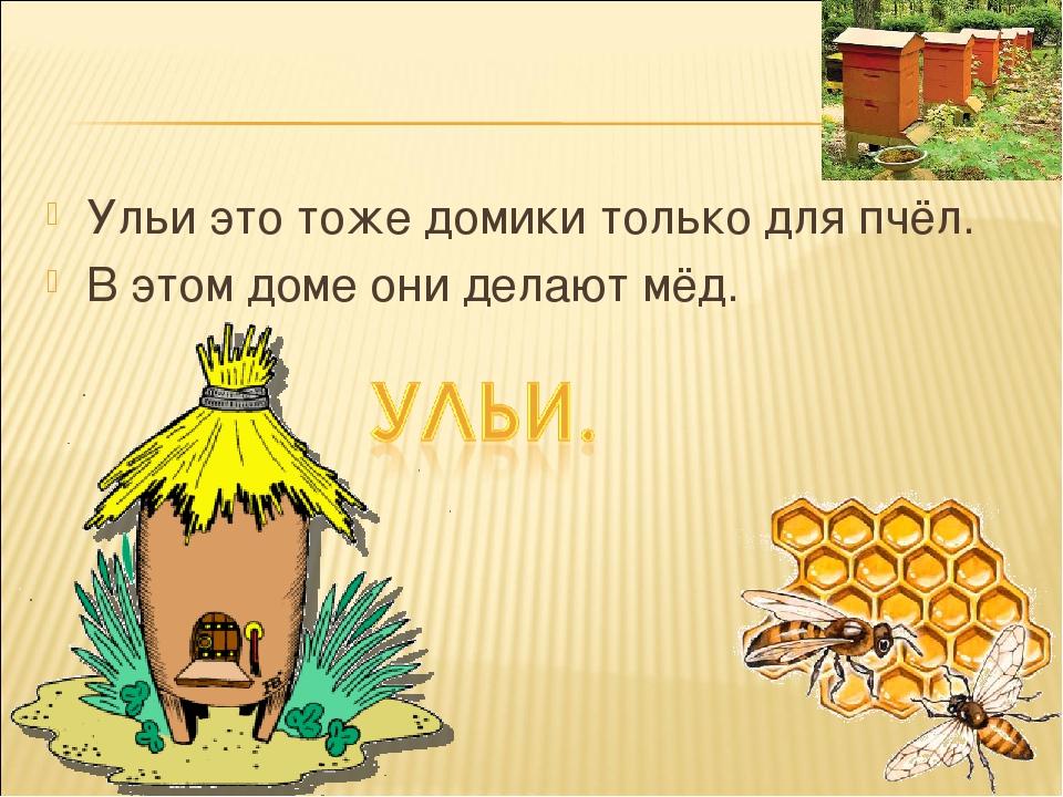Ульи это тоже домики только для пчёл. В этом доме они делают мёд.